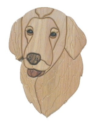 Golden Retriever wood carved dog head