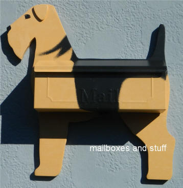 black and tan Airedale wall mount mailbox