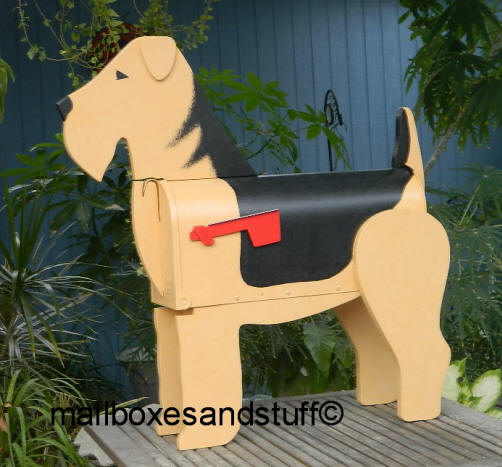 Custom painted Airedale Mailbox dog mailbox, dog mailboxes