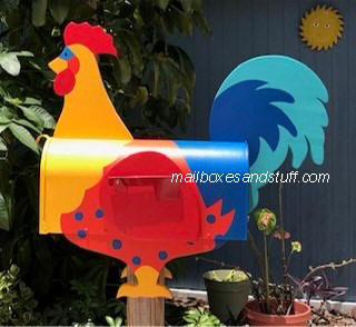 colorful rooster mailbox