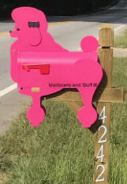 Custom color Fuschia Show Poodle Mailbox