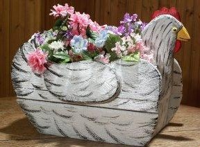 White Hen Planter