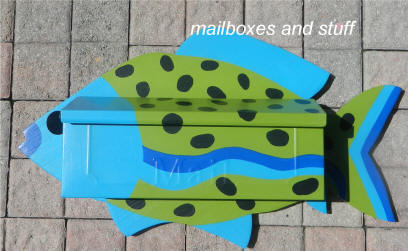 blue and green tropical fish mailbox wall