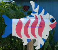 pink white and blue Tropcal fish mailbox