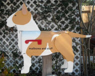 custom painted Bull Terrier mailbox, dog mailbox