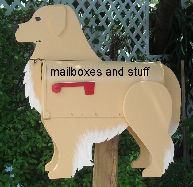 Golden Retriever mailbox, dog mailboxes