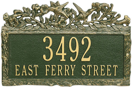 Hummingbird address plaque