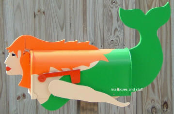 Red Head mermaid Mailbox© ... can be custom painted blonde, brunette or with black hair