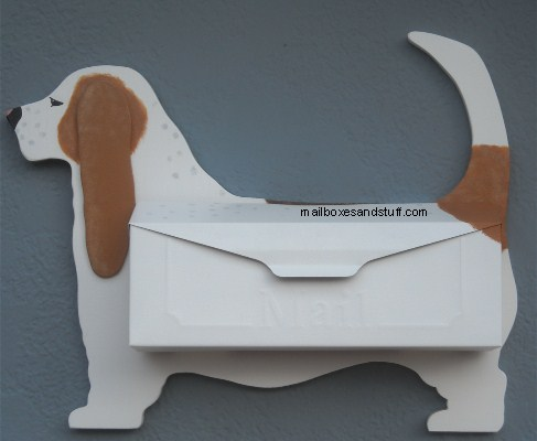 custom painted basset Wall mount mailbox