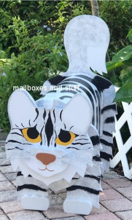 Silver marble Maine Coon cat mailbox