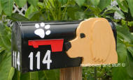 Goldendoodle head on black mailbox, unique mailbox offereing two different breeds or 2 dog heaad the same