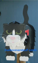 Tuxedo cat mailbox  fluffy