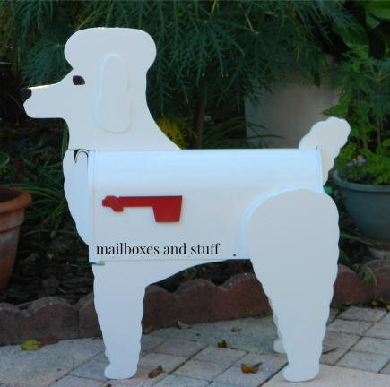 white poodle mailbox